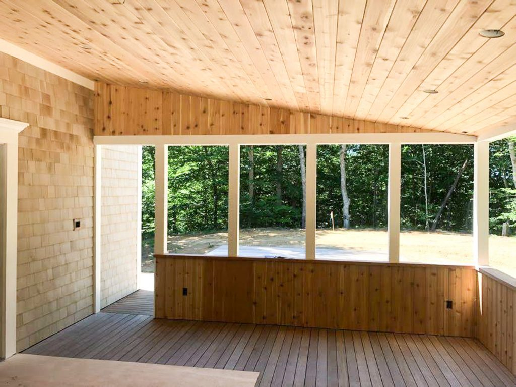 Shade Porch with cedar interior trim
