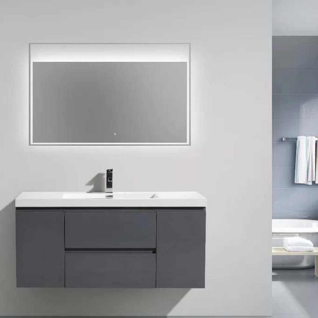 "Basement (Garden Level) Bath #4 47"" Morenobath hanging vanity in grey"