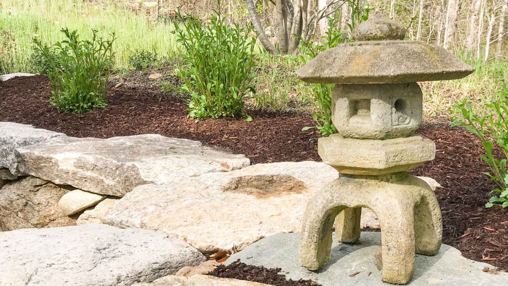 Stone Pagoda and new mulch at front steps